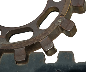 Close-up of the cog and rail used on the Pikes Peak Cog Railway