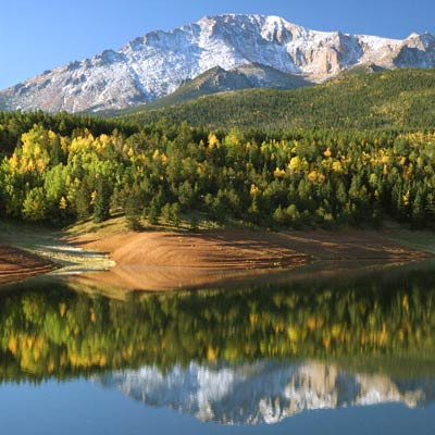 Reflections of Pikes Peak in Crystal Reservoir