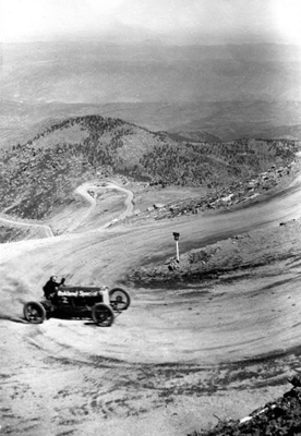 Early hillclimb racer, circa 1920s, Courtesy of Pikes Peak Library Special Collections