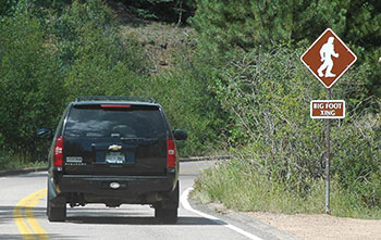 Bigfoot Crossing Sign on the Pikes Peak Highway.