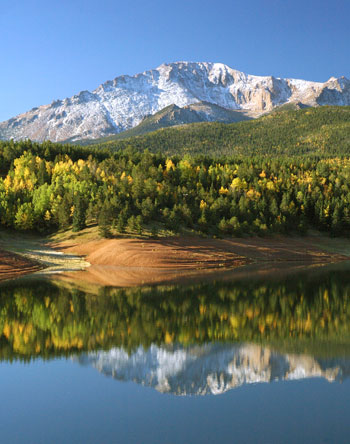 Reflections of Pikes Peak in Crystal Reservoir.