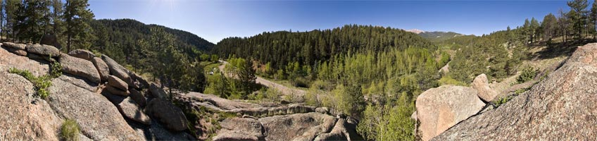 View of the Pikes Peak Highway from a trail above Crowe Gulch Picnic Area.