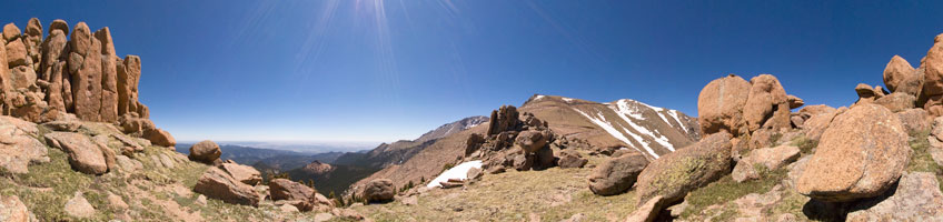 "Panorama taken from above the first ""W"" on the Pikes Peak Highway"