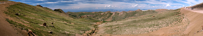 Panorama of Sheep Basin on the Pikes Peak Highway