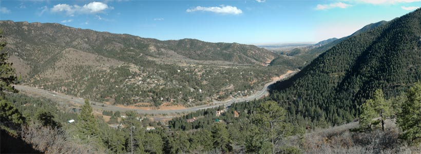 Panoramic view of Ute Pass from Camera Point Overlook